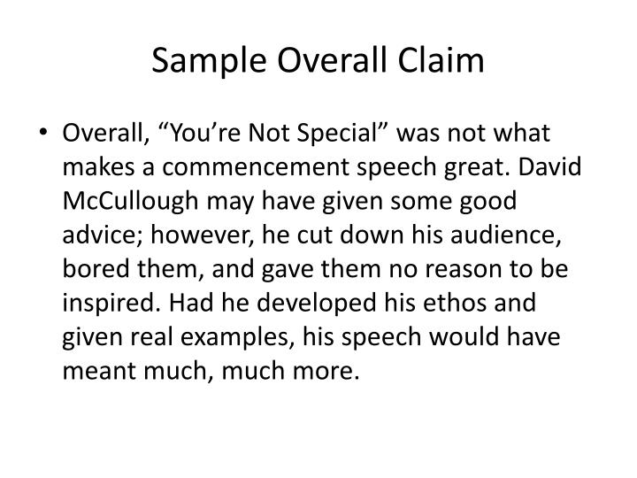Sample Overall Claim