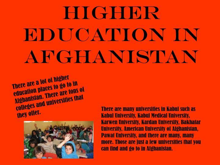 Higher Education in Afghanistan