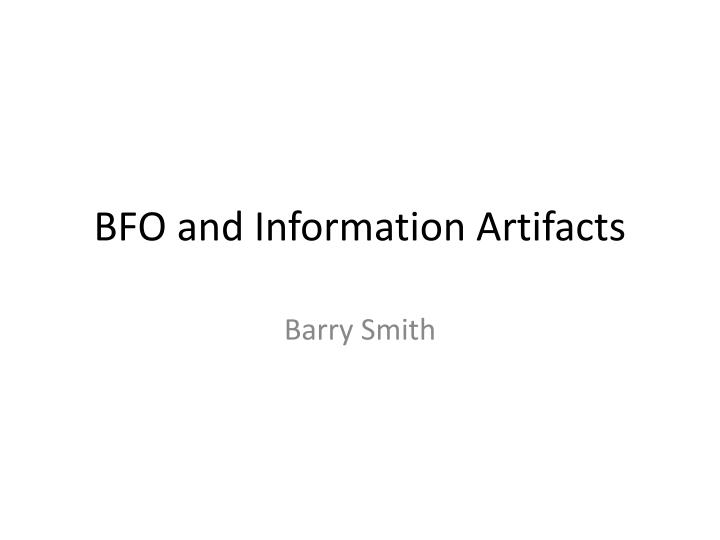 Bfo and information artifacts