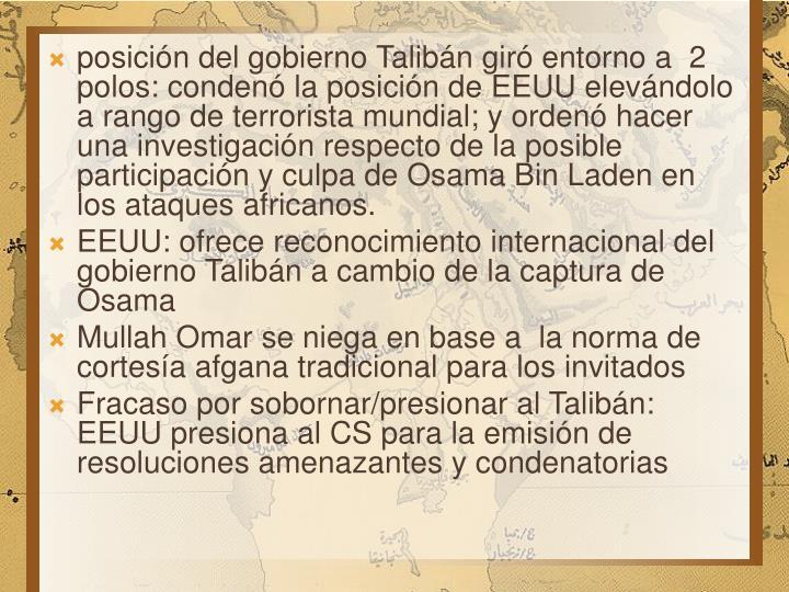 posición del gobierno Talibán giró entorno a  2 polos: condenó la posición de EEUU elevándolo a rango de terrorista mundial; y ordenó hacer una investigación respecto de la posible participación y culpa de Osama