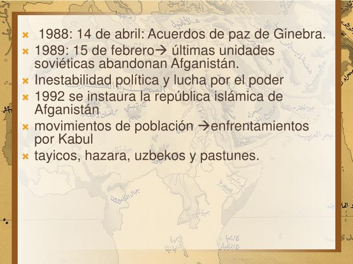 1988: 14 de abril: Acuerdos de paz de Ginebra.