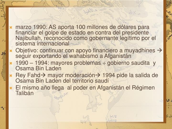 marzo 1990: AS aporta 100 millones de dólares para financiar el golpe de estado en contra del presidente