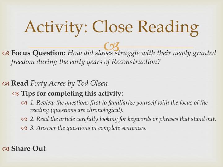 Activity: Close Reading