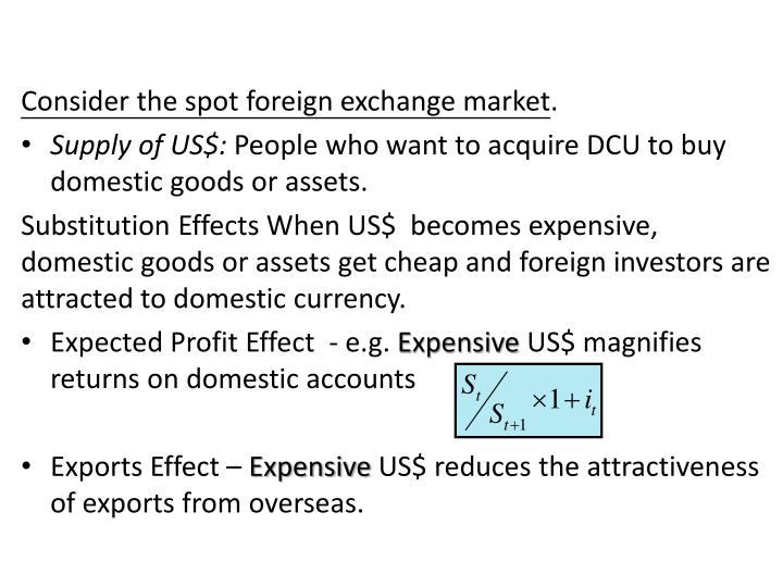 Consider the spot foreign exchange market