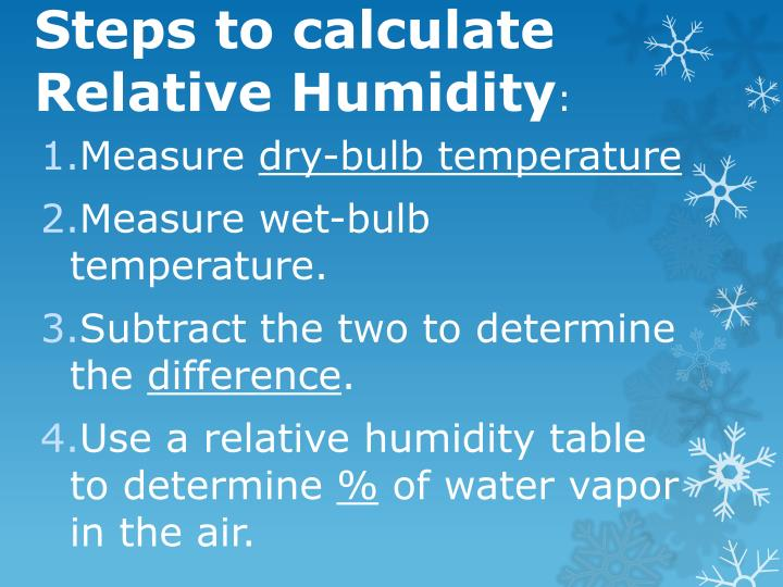 Steps to calculate Relative Humidity