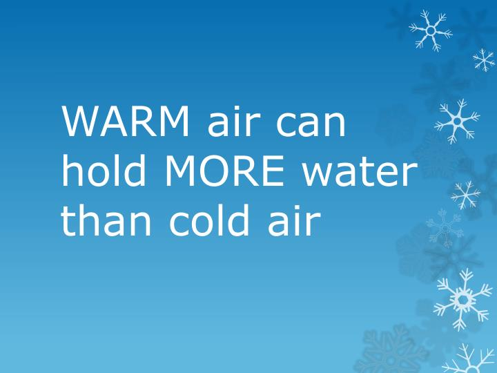 WARM air can hold MORE water than cold air