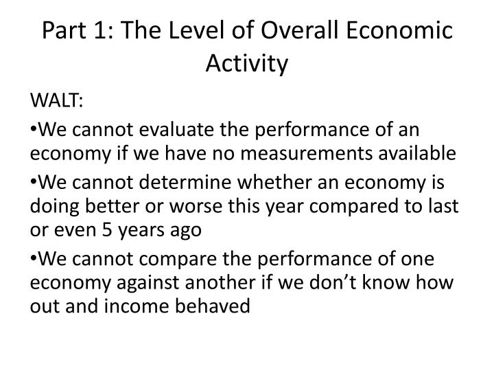 part 1 the level of overall economic activity