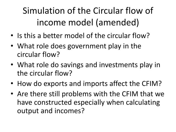 Simulation of the Circular flow of income model (amended)