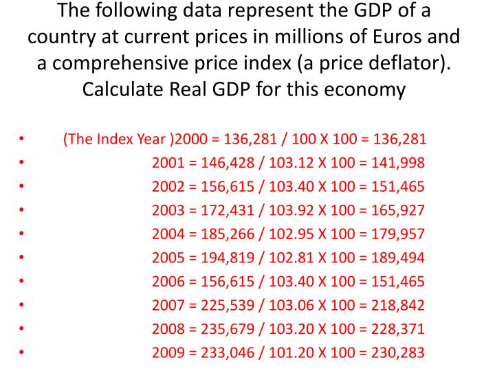 The following data represent the GDP of a country at current prices in millions of Euros and a comprehensive price index (a price deflator). Calculate Real GDP for this economy