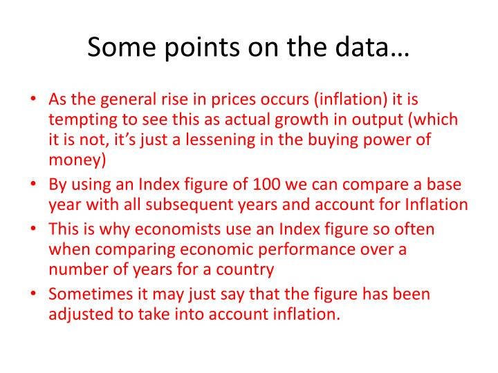 Some points on the data…