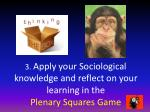 3 apply your sociological knowledge and reflect on your learning in the plenary squares game