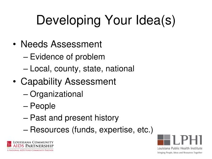 Developing Your Idea(s)