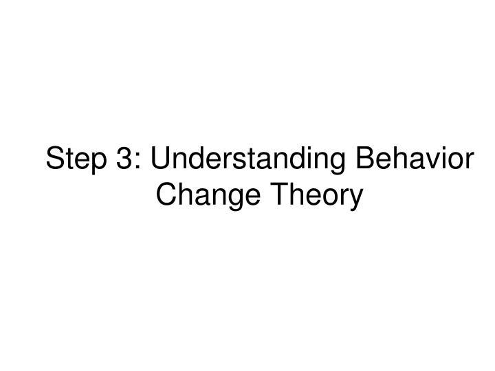 Step 3: Understanding Behavior Change Theory