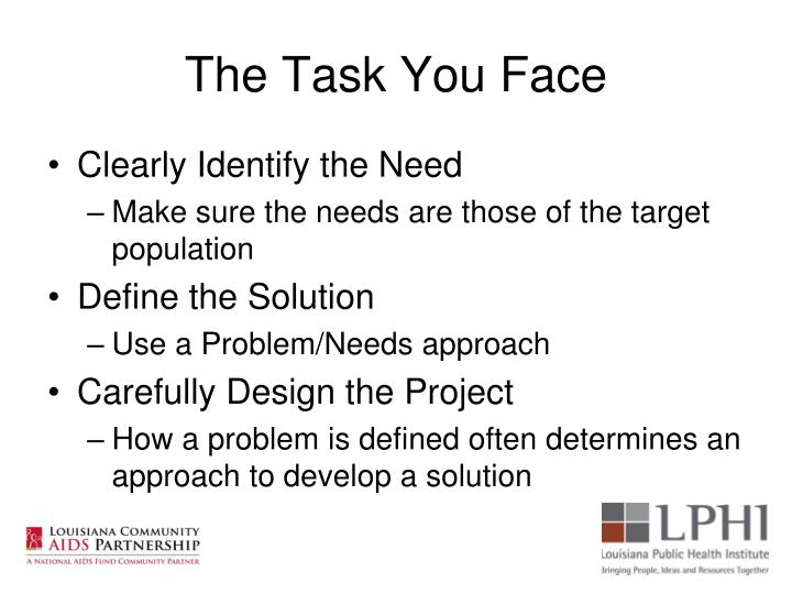 The Task You Face