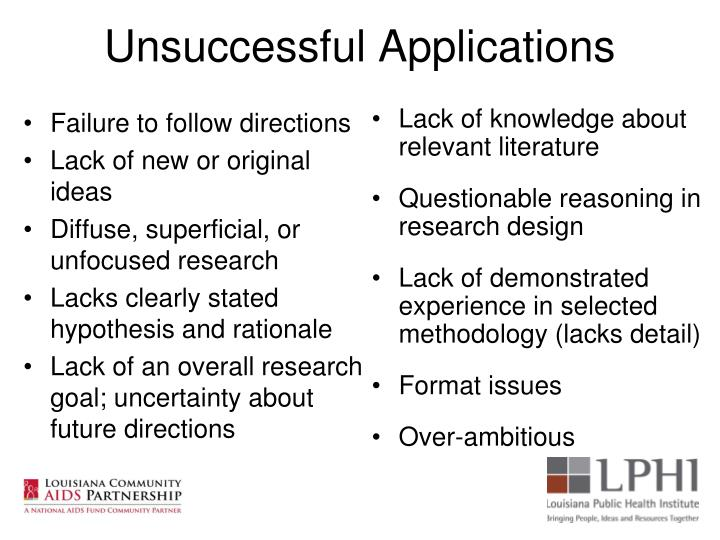 Unsuccessful Applications