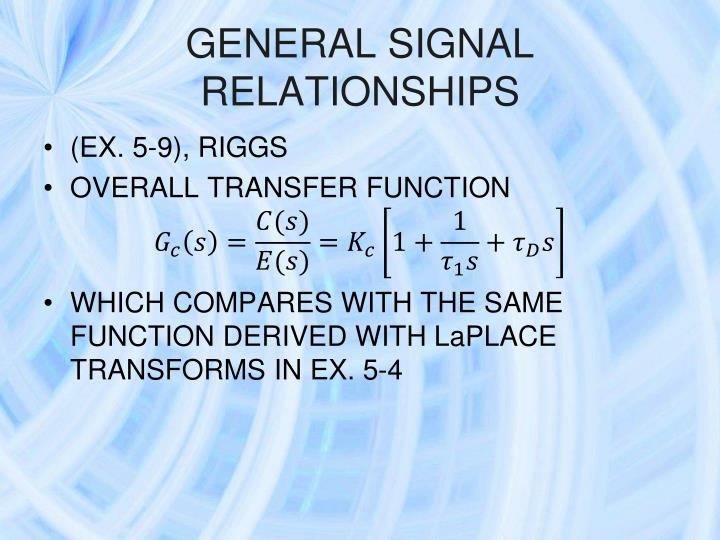 GENERAL SIGNAL RELATIONSHIPS