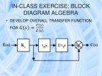 in class exercise block diagram algebra