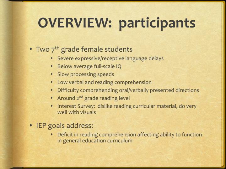 OVERVIEW:  participants