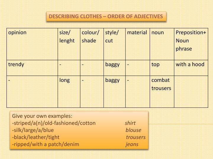 Ppt Describing Clothes Order Of Adjectives Powerpoint