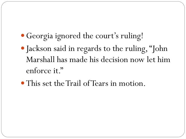 Georgia ignored the court's ruling!