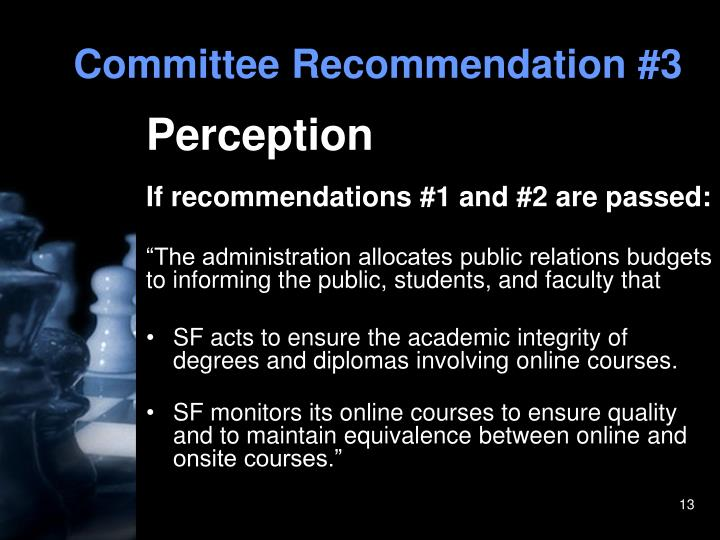 Committee Recommendation #3