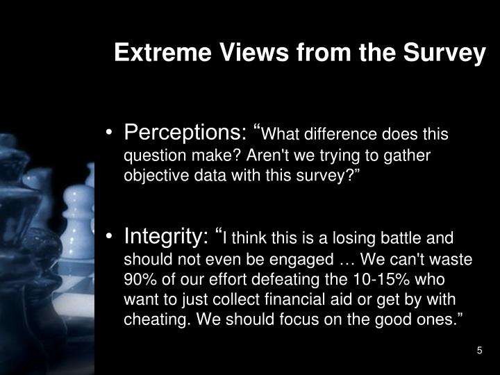 Extreme Views from the Survey