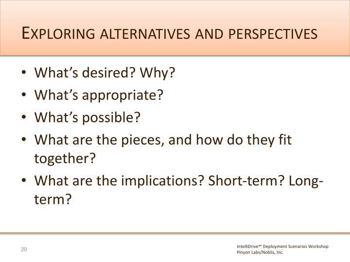 Exploring alternatives and perspectives