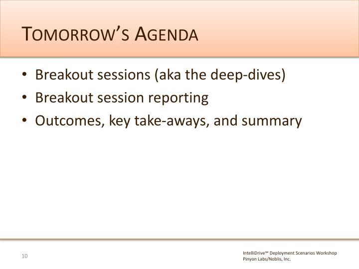Tomorrow's Agenda
