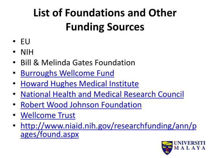List of Foundations and Other Funding Sources