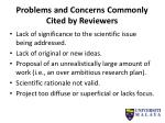 problems and concerns commonly cited by reviewers