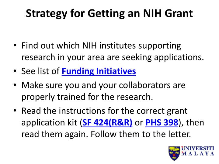 Strategy for Getting an NIH Grant