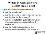 writing an application for a research project grant1