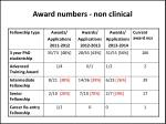 award numbers non clinical