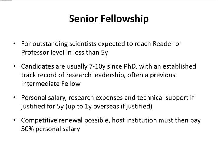 For outstanding scientists expected to reach Reader or Professor level in less than 5y