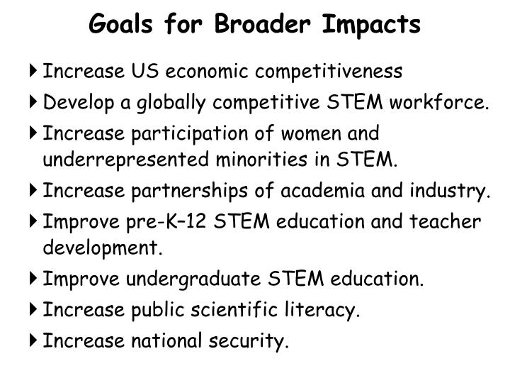 Goals for Broader Impacts