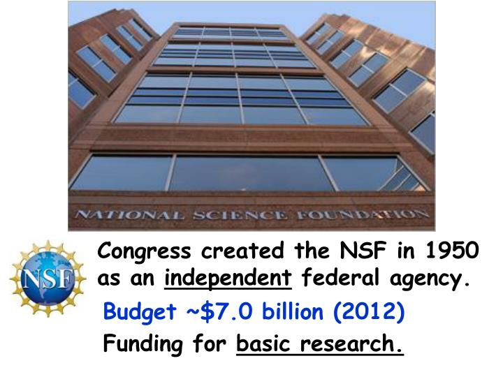 Congress created the NSF in 1950 as an