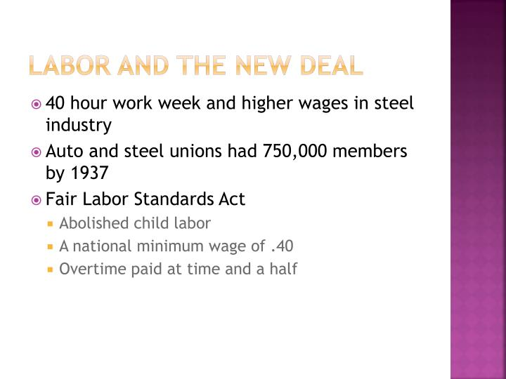 Labor and the new deal