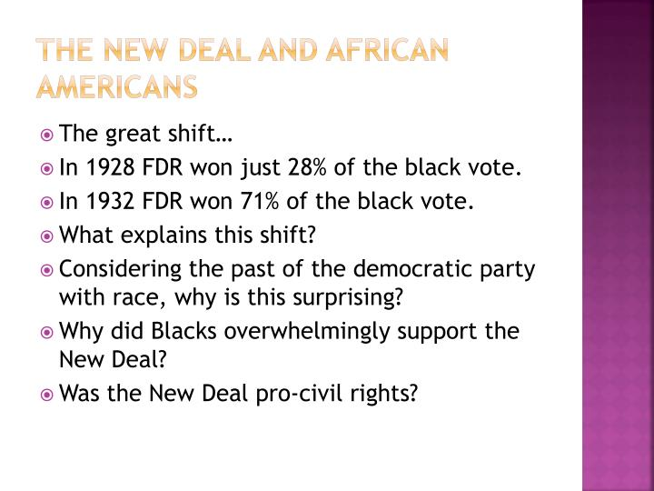 The New deal and African
