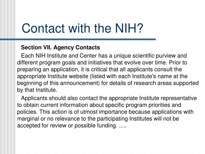 Contact with the NIH?