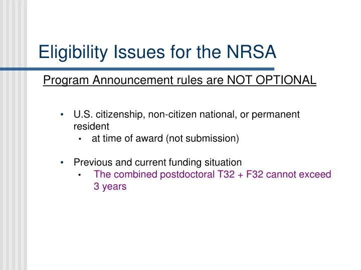 Eligibility Issues for the NRSA