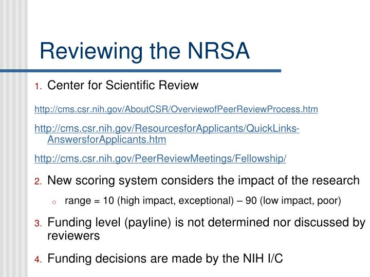 Reviewing the NRSA