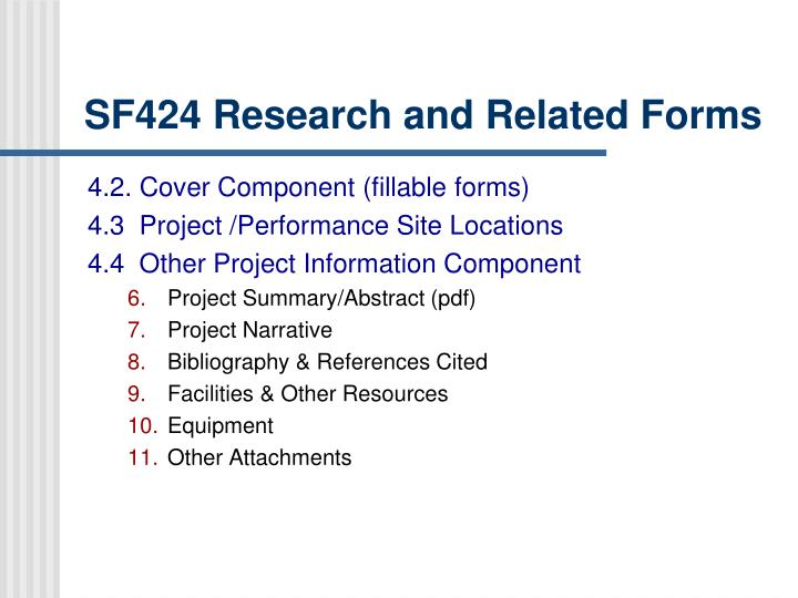SF424 Research and Related Forms