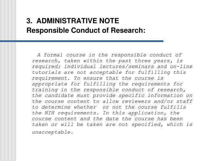 3.  ADMINISTRATIVE NOTE