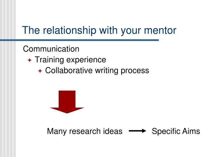 The relationship with your mentor