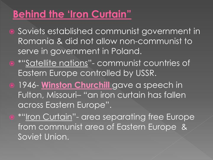 Behind the 'Iron Curtain""