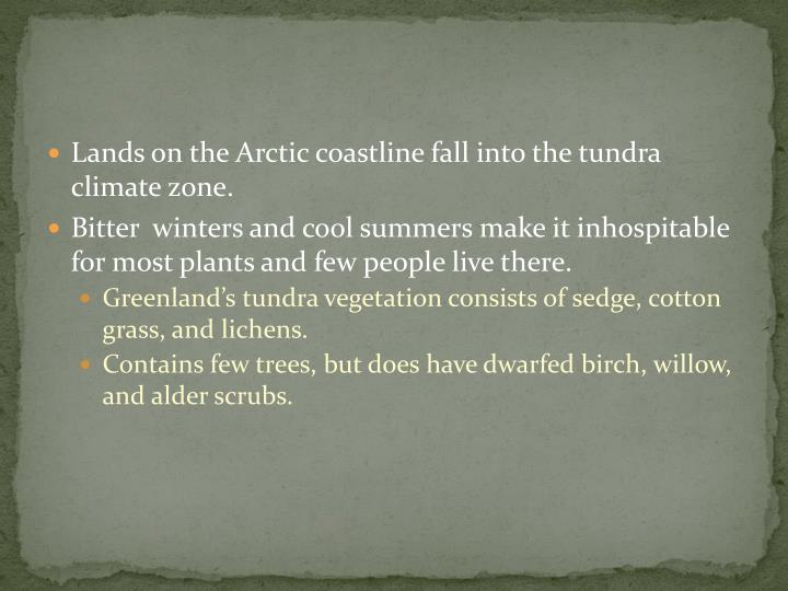 Lands on the Arctic coastline fall into the tundra climate zone.