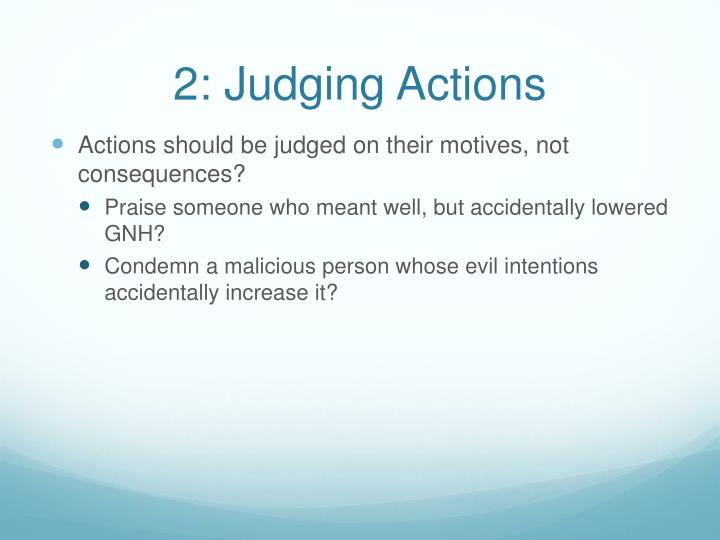 2: Judging Actions