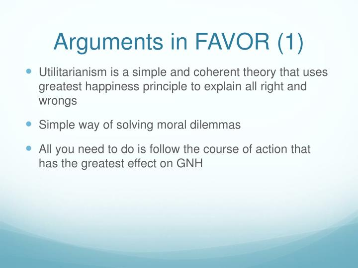 Arguments in FAVOR (1)
