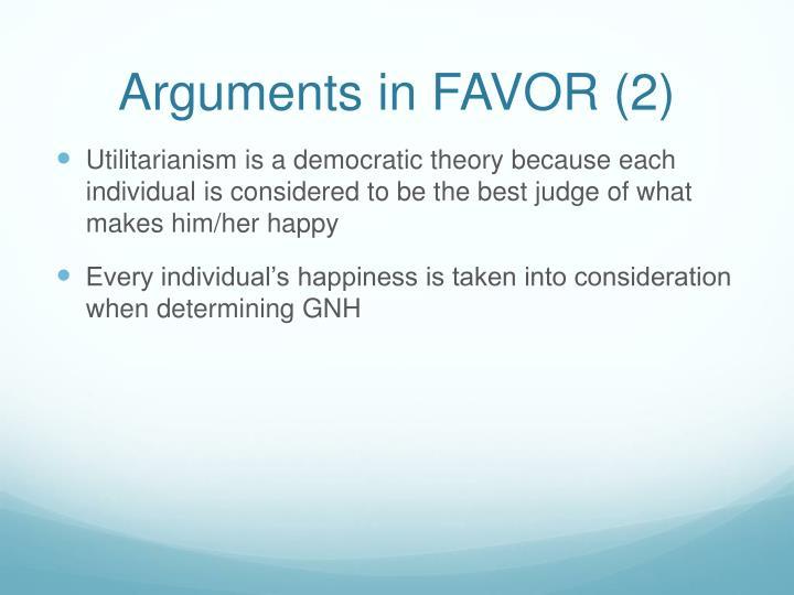 Arguments in FAVOR (2)