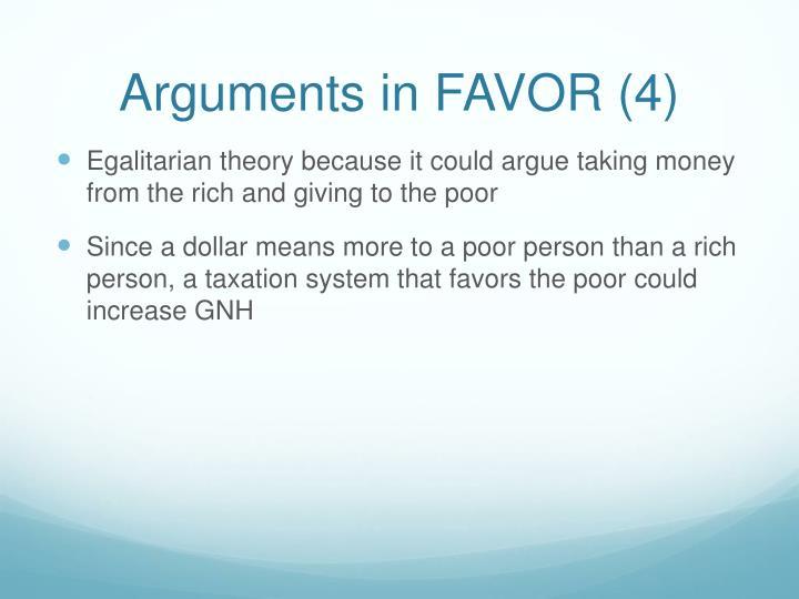Arguments in FAVOR (4)